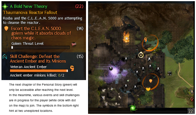 Part of the Guildwars2 user interface and map