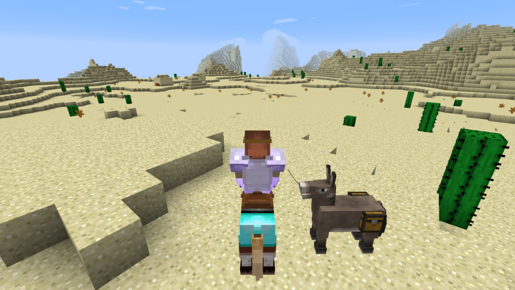 minecraft exploration desert temple horse donkey