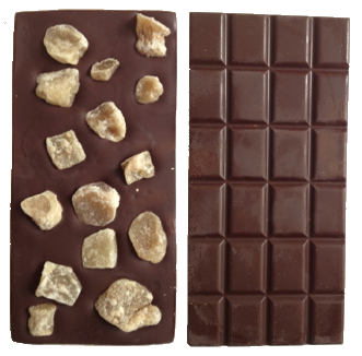 chocolate bar with sollbruchstellen and ingredients